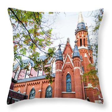 Throw Pillow featuring the photograph St Paul's Cathedral In Downtown Birmingham by Shelby Young