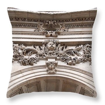 Throw Pillow featuring the photograph St Paul's Cathedral - Stone Carvings by Rona Black
