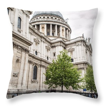 St Pauls Cathedral With Black Taxi Throw Pillow