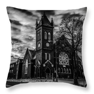 St Pauls United Church Milton  Black And White Throw Pillow