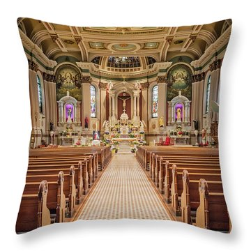 Throw Pillow featuring the photograph St Peter The Apostle Church Pa by Susan Candelario