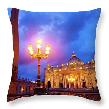 St. Peters Cathedral At Night Throw Pillow