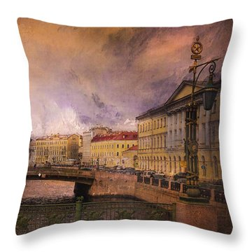 Throw Pillow featuring the photograph St Petersburg Canal by Jeff Burgess