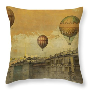 Throw Pillow featuring the digital art St Petersburg With Air Baloons by Jeff Burgess