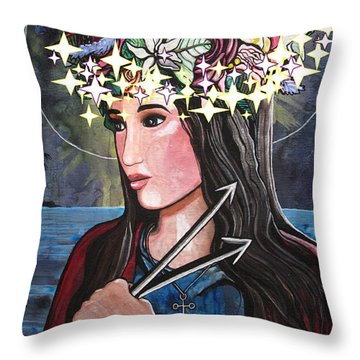 Throw Pillow featuring the mixed media St. Philomena by Mary Ellen Frazee