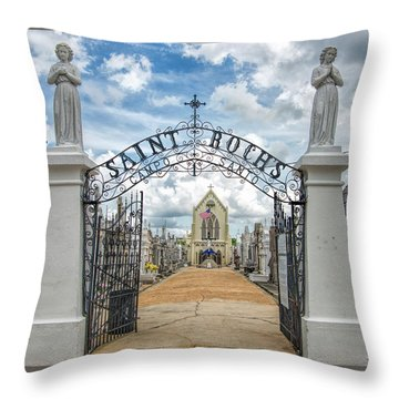 Throw Pillow featuring the photograph St. Roch's Cemetery In New Orleans, Louisiana by Bonnie Barry