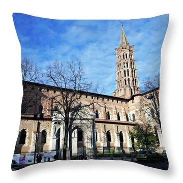 Throw Pillow featuring the photograph St Sernin Basilica by Cendrine Marrouat