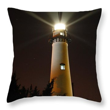 St Simons Island Lighthouse Throw Pillow by Kathryn Meyer