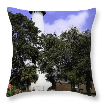 St Simons Isle Lighthouse Throw Pillow