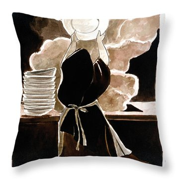 St. Therese Doing The Dishes - Mmdtd Throw Pillow