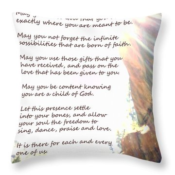 St Therese Of Lisieux Prayer And True Light Lower Emerald Pools Zion Throw Pillow by Heather Kirk