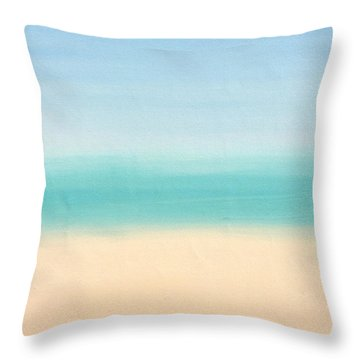 St Thomas #3 Seascape Landscape Original Fine Art Acrylic On Canvas Throw Pillow