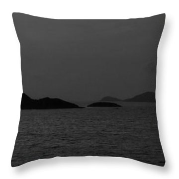 Throw Pillow featuring the photograph St. Thomas Islets 001 Bw by Lance Vaughn
