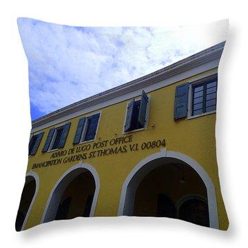 St. Thomas Post Office Throw Pillow by Lois Lepisto