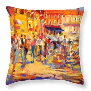 St Tropez Promenade Throw Pillow