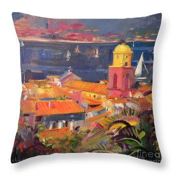 St Tropez Sailing Throw Pillow by Peter Graham