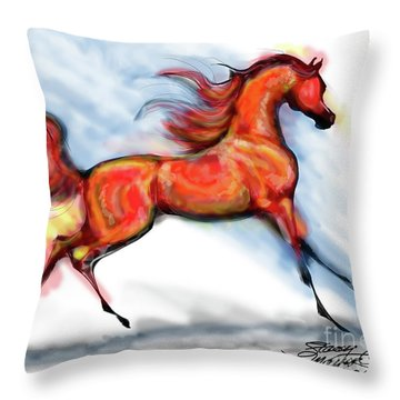 Staceys Arabian Horse Throw Pillow