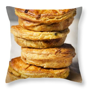 Stack Of Homemade Meat Pies On A Rustic Table Throw Pillow