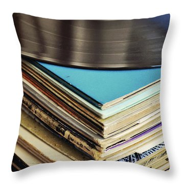 Stack Of Records Throw Pillow