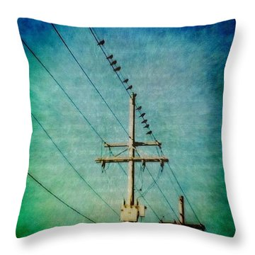 Birds On A Line Throw Pillow by Joan McCool
