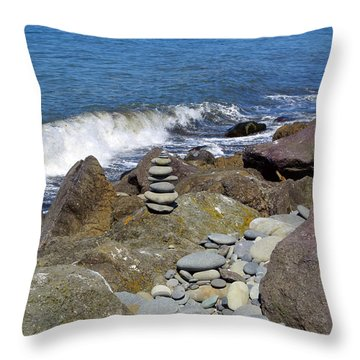 Throw Pillow featuring the photograph Stacked Against The Waves by Tikvah's Hope