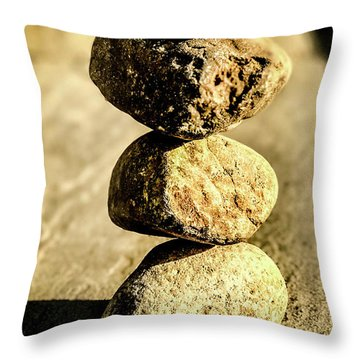 Throw Pillow featuring the photograph Stacked Rocks by Onyonet  Photo Studios