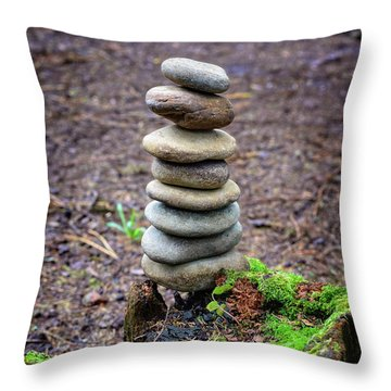 Throw Pillow featuring the photograph Stacked Stones And Fairy Tales II by Marco Oliveira