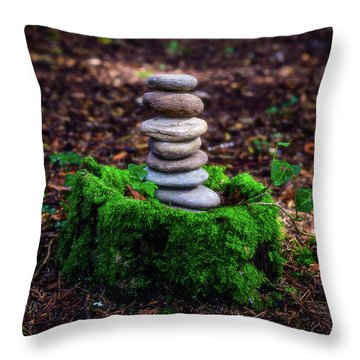 Throw Pillow featuring the photograph Stacked Stones And Fairy Tales Iv by Marco Oliveira