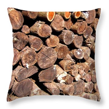 Stacked Tree Logs Throw Pillow by Yali Shi