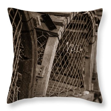 Throw Pillow featuring the photograph Stacks Of Pei Loberster Traps by Chris Bordeleau