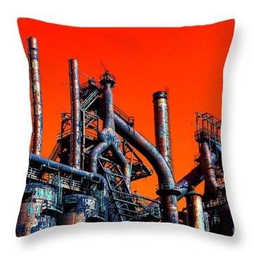 Stacks Of Steel Pop Art In Bethlehem Throw Pillow