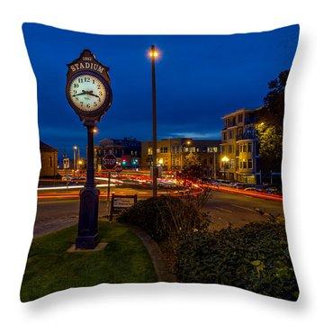 Stadium Clock During The Blue Hour Throw Pillow
