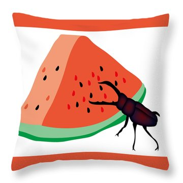 Stag Beetle Is Eating A Piece Of Red Watermelon Throw Pillow