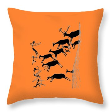 Stag Hunting In Valltoria Throw Pillow by Asok Mukhopadhyay