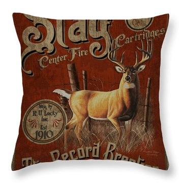 Stag Record Breaker Sign Throw Pillow by JQ Licensing