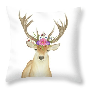 Throw Pillow featuring the painting Stag Watercolor  by Taylan Apukovska