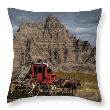 Stage Coach In The Badlands Throw Pillow