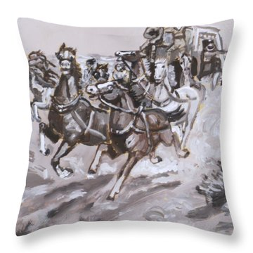 Stagecoach Attacked Historical Vignette Throw Pillow by Dawn Senior-Trask