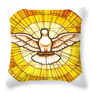 Stain Glass Dove Throw Pillow