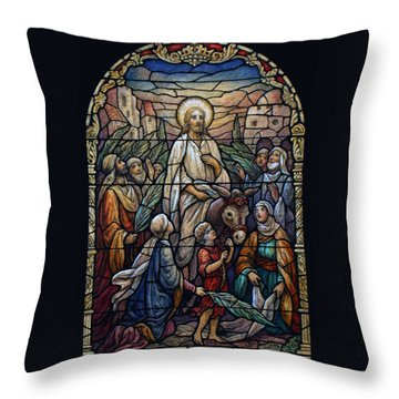 Stained Glass - Palm Sunday Throw Pillow by Munir Alawi