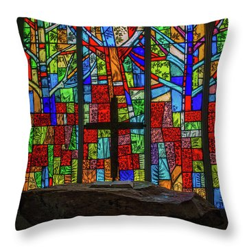 Stained Glass And Stone Altar Throw Pillow