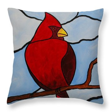 Stained Glass Cardinal Throw Pillow