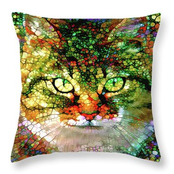 Stained Glass Cat Throw Pillow