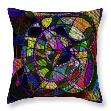 Throw Pillow featuring the digital art Stained Glass Father Mother Child by Iowan Stone-Flowers