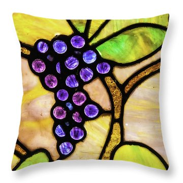 Stained Glass Grapes 01 Throw Pillow