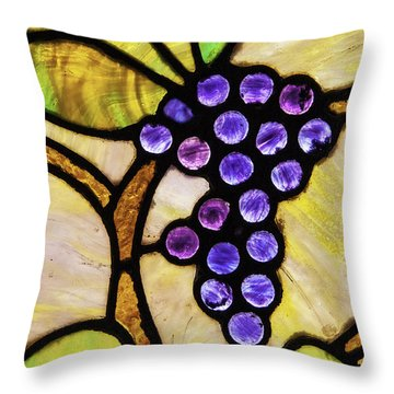 Stained Glass Grapes 02 Throw Pillow