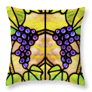 Stained Glass Grapes 03 Throw Pillow