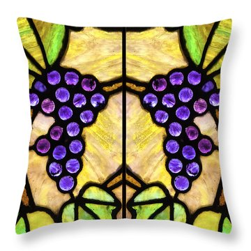 Stained Glass Grapes 07 Throw Pillow