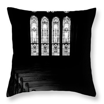 Stained Glass In Black And White Throw Pillow