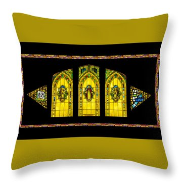 Throw Pillow featuring the digital art Stained Glass by Jeff Phillippi